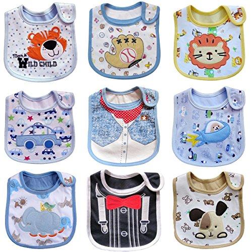Haimoburg 9 Pack Wasserdicht Babylätzchen Baumwolle Klettverschluss (Jungen 9 Pack) (Große Wasserdichte Baby Lätzchen)