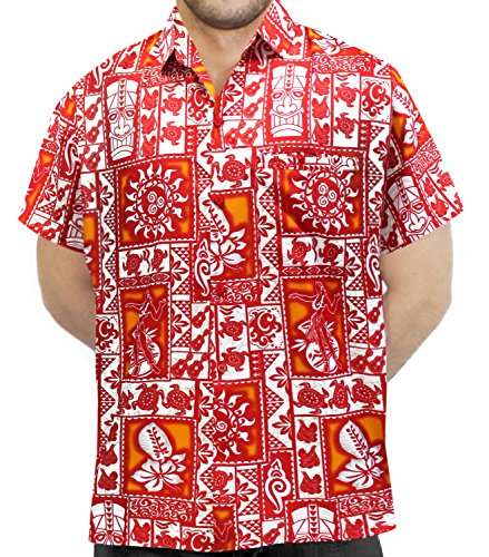 *La Leela* Shirt Camicia Hawaiana Uomo XS - 5XL Manica Corta Hawaii Tasca-Frontale Stampa Hawaiano Casuale Regular Fit Rosso1884 S