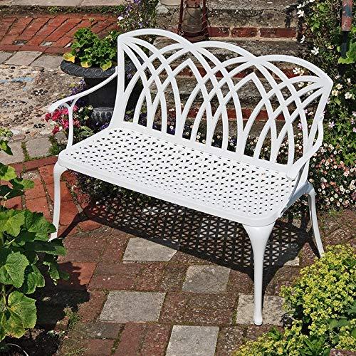 Lazy Susan - APRIL Gartenbank aus Aluminium, Weiß (Beiges Kissen) -