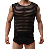 Tenchif Men's Sexy Casual Striped Gym Tank Top Transparent Vests Undershirt