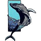 Toppa ricamata da applicare con ferro da stiro o cucitura, tema: La megattera salta fuori dal mare