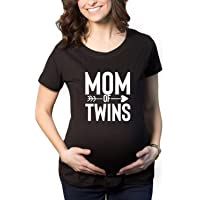 TheYaYaCafe Mothers Day Mom of Twins Women's Pregnancy Maternity T-Shirt Top Tee Round Neck Half Sleeves
