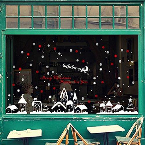 LQZ Weihnachten Fensterbild Fenstertattoo Festersticker Fensteraufkleber Wandtattoo Wandsticker Fenster Deko Schaufenster