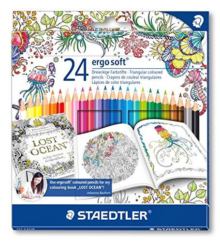 Staedtler ergosoft 157 C24JB Buntstifte, Set 24 farben, Exklusive Johanna Basford Edition