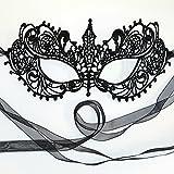 Noir masque loup dentelle - mascarade bal masqué venitien femme - Déesse