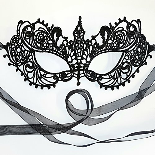 Gorgeous All Lace Goddess Black Masquerade Mask by -