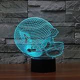 Wmshpeds Rugby Cap Arizona Cardinals 3D-Lichter Bunte Noten-LED-Leuchten