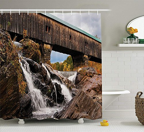Cascading Rock (JIEKEIO Apartment Decor Shower Curtain Set, Old Rustic Oak Covered Bridge Over Cascading Waterfalls Rock Fall Season American Cityscape, Bathroom Accessories,60 * 72inch inches, Brown)
