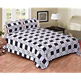 EIN SOF Cotton Double Bedsheet King Size (90x100 Inches) With 2 Pillow Covers Combo Set, Double Bed, King Size Cotton Bedsheet,3D Printed Technology, Geometric Checkered Pattern (Blue & White, 150 TC)