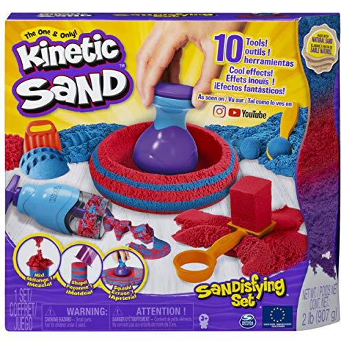 Kinetic Sand Sandisfying-Set Spielsand 6047232, 10 Werkzeuge, 907 Gramm Sand, kreatives Basteln, für Kinder ab 3 Jahren, rot/blau