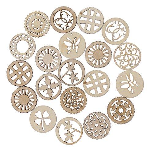 Sharplace 20/10er Set Holzblumen Holzsterne Naturdeko Tischschmuck Streudeko Hochzeit Party Zubehör Holz Verzierung - 20 Stück Kreis -