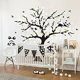 Sayala 3 Panda Wandtattoo-Wandsticker mit Floralem-Pfirsich Sakura Blumen Baum Wandbild für Mädchen/Jungen oder Baby Zimmer.2m*1.8m Wanddeko Wandtattoobaum (Weiß)