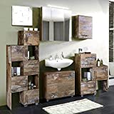 Badmöbel Set 5-teilig ● Panama Eiche ● Badezimmer Komplettset: Spiegelschrank, Waschbeckenschrank, großes und kleines Schiebelement, Hängeschrank ● Made in Germany