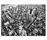 KD Dsign+ Echtes Glasbild AG5705000419 DEKO 70 x 50 cm New York Downtown I / 4mm Starkes behandeltes Sicherheitsglas mit Abstandshalter für TOLLE TIEFENWIRKUNG/WANDBILD inkl. montiertem Aufhänger