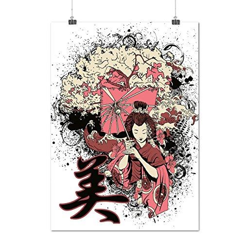 Geisha Sakura Kunst Fantasie Kostüm Perücke Mattes/Glänzende Plakat A4 (30cm x 21cm) | Wellcoda