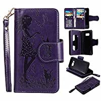 C-Super Mall-UK Galaxy S8 Case [9 Cardslots and Makeup Mirror], Embossed Girl & Cat Pattern PU Leather Wallet Stand Flip Case for Samsung Galaxy S8 (Purple)