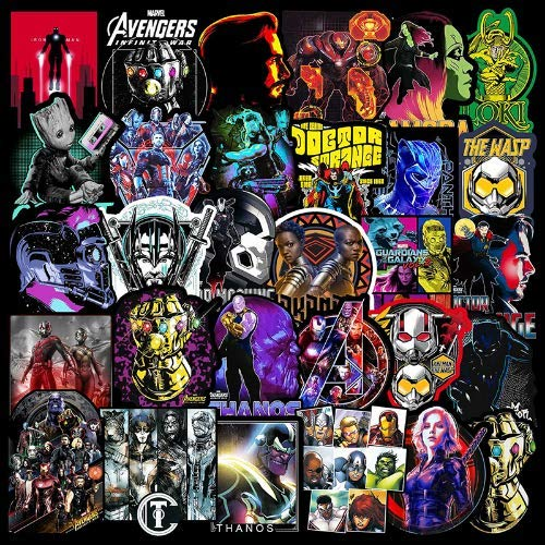 Marvel Avengers Aufkleber Für Laptop Auto Kühlschrank Koffer Gitarre Motorrad Fahrrad Aufkleber Superheld Anime Sticker Pack 50 Stücke