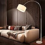 ZYY&LIGHT Stehender Lampen-Moderner Angelrute-gewölbte Stehlampe, Marmorsockel, mit Fernbedienung,White