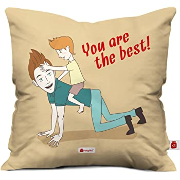 Indigifts Father Birthday Gifts You Are The Best Quote Brown Cushion Cover 12x12 Inches With Filler