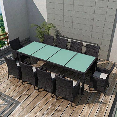 Lingjiushopping Set de meubles de salle à manger de jard š ªn 21 pièces poli Rat š ¢ n noir Material : Structure en acier avec revêtement en poudre + Rat š ¢ n pE + Plateau en verre