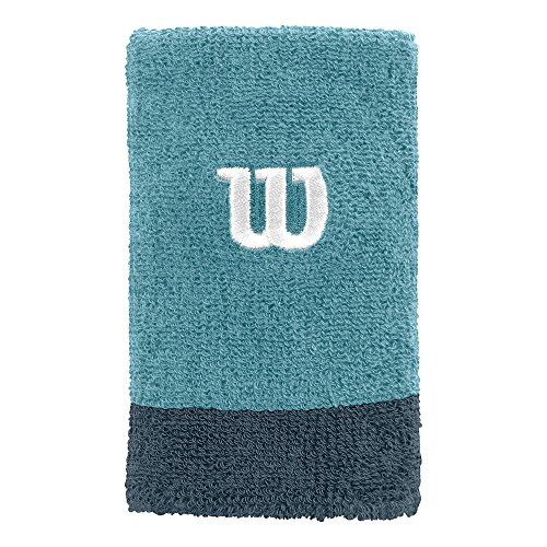 WILSON Extra Wide Wristband Water/Blue Mir - Muñequera