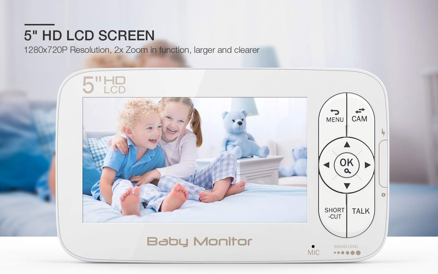 Baby Monitor, BOIFUN Baby Video Camera with 5'' 1280x720P HD Screen 2000mAh Rechargeable Battery with VOX Night Vision Temperature Monitor Two-Way Talk 355 Degree Remote Control Camera Baby/Elder/Pet BOIFUN Sleep Mode & Night Vision----In Sleep mode, The screen on the mother unit is black. Screen will light up when baby starts crying. Night vision distance is 5 meters, so you will never miss any moment of your baby, and it frees yourself from the hustle and bustle. You will be able to have your own time to read, watch TV, or even enjoy a couple of drinks with your husband. Bring you lots of fun. 2000mAh Battery----2000mAh high-capacity battery (mother unit), lasts up to 6 hours with full functions, and 20 hours in sleep mode, from testing results. Let you have longer time get rid of the shackles of the wires. Bring you longer time of fun. 300Meters Extra-Large Range----300m signal coverage area (outdoor test) allows you to cook happily downstairs, enjoy the sun in the pool, or even have a relaxing BBQ time with friends in terrace. Bring you bigger fun. 2