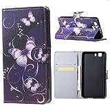 DETUOSI® Doogee X5 Pro Hülle Wallet Case Flip Cover Hüllen Schutzhülle Etui Ledertasche Premium Hülle mit Standfunktion für Doogee X5 und Doogee X5 Pro (Lila Schmetterling)