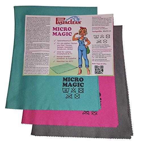 Pastaclean Micro Magic Spezialfasertuch 3er + Vorreinigungstuch TV Laptop Smartphone Glas Spiegel Mobile Magic