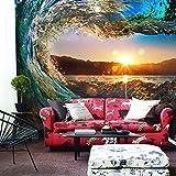 YShasaG Seidenwandbild 3D Wall Murals Wallpaper Landschaft Ozean Sonnenuntergänge Roll Wave Benutzerdefinierte 3D Fototapete Wohnzimmer TV Sofa Hintergrund Geprägte Papier,500cm*280cm