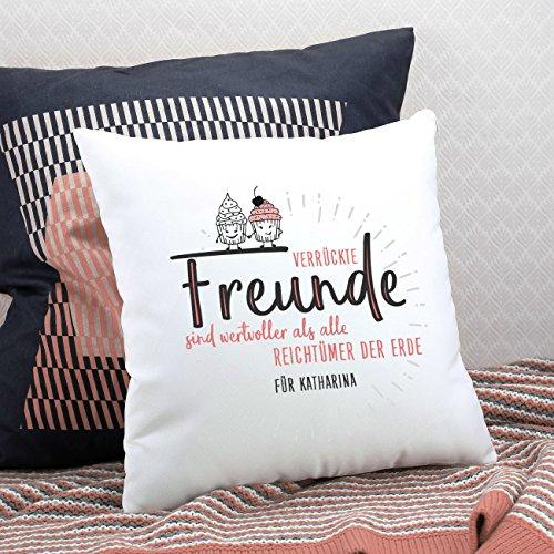 Herz & Heim® Kissen mit Spruch – Verrückte Freunde – mit Gratis Widmung – Geschenke für Gute Freunde