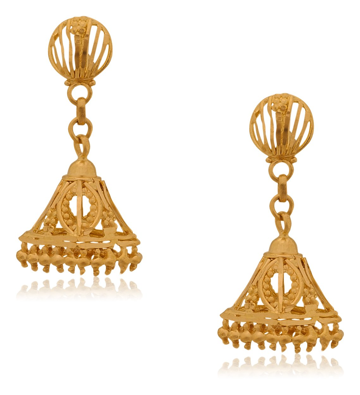 Senco Gold Aura Collection 22k Yellow Gold Jhumki Earrings for Women