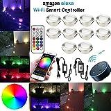 SUBOSI Bodeneinbauleuchten Arbeitet mit Alexa,RGB LED Einbaustrahler DC12V Ø61mm 1W LED Boden Wifi Wireless Smart Phone 10er Full Kit