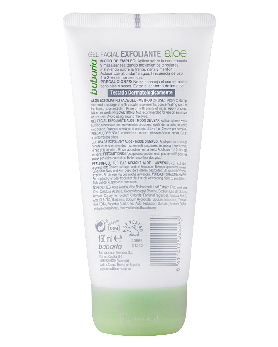 Babaria Aloe Vera – Gel exfoliante facial, 150 ml