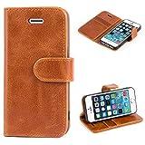 Mulbess Ledertasche im Ständer Book Case / Kartenfach für Apple iPhone SE / 5S / 5 Tasche Hülle Leder Etui,Braun