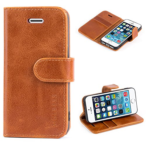 Mulbess Ledertasche im Ständer Book Case / Kartenfach für Apple iPhone SE / 5S / 5 Tasche Hülle Leder - Foto-stand Iphone 5