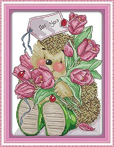 YEESAM ART Neu Kreuzstich Stickpackung - Cubs Bear Flower 14
