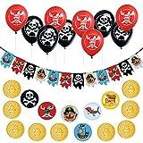 Oblique Unique Piraten Party Kindergeburtstag Deko Set - Piraten Girlande + Totenkopf Luftballons + Piraten Konfetti Set