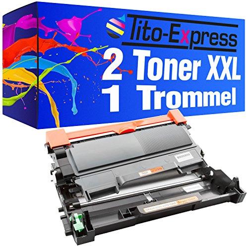 Sparset Trommel & 2 Toner-Patronen XXL PlatinumSerie Schwarz kompatibel für Brother DR-2200 & TN-2010 HL-2130 HL-2132 HL-2135W DCP-7055 DCP-7055W DCP-7057
