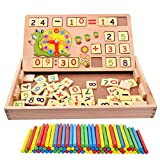 HXSS Wooden Block of Arithmetic Number and Time with Counting Rods Box for Children, Preschool Educational Toys