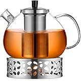 ecooe Oryginalny dzbanek do herbaty ze szkła borokrzemowego o pojemności 2000 ml, zaparzacz do herbaty z podgrzewaczem ze sta