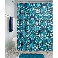 InterDesign 63421eu Scroll medaglione plastica per tenda da doccia, colore: blu Navy/Teal, 183x 254x 183cm