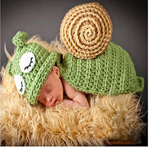 Generic Green : New Fashion Animal Crochet Costume Crochet Knit Snail Baby Photo Prop Hats with Cape covered Baby Outfits