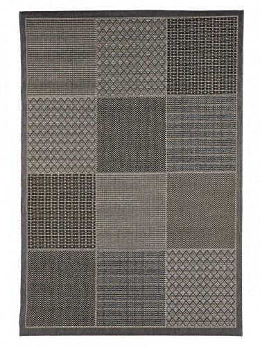 Outdoor-Teppich für Terrasse / Balkon Teppich Indoor / Outdoor - für drinnen und draussen Wohnzimmer grau-braun 160 x 230 cm -