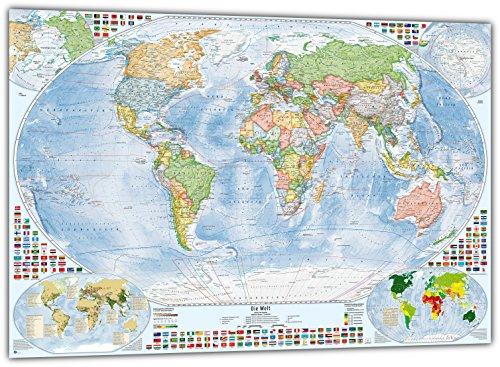 XXL-Poster: Politische Weltkarte mit 4 Nebenkarten, 205x144 cm, deutsch, Aktuell: Stand 2016