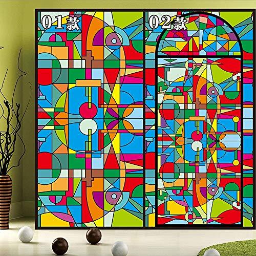 KBLTA Fensterfolien Kirche Glasmalerei Folie Unregelmäßige Diamantstange Ktv Veranda Decke Fensterfolie Abnehmbar,50 * 200CM -