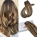 Moresoo Balayage Color Clip in Remy Hair Extensions Marrón #4 con Caramelo #27 100% Real Human Hair Extensions 16Pulgadas/40cm 7pcs/120g