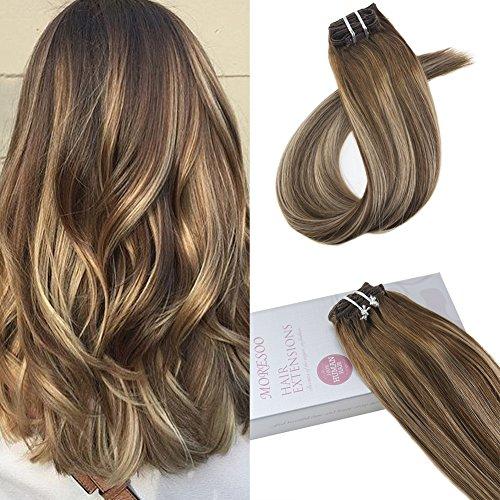 Moresoo 22 Zoll/55cm Remy Echthaar Clip In Extensions Für Komplette Kopf Farbe # 4 Braun Gemischt # 27 Karamell Blondine Haarverlängerung Balayage Haarfarbe 7 Tressen 120g