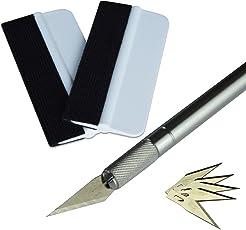 Ehdis Vinylfolie-Installations-Applikator-Kits: Mini Soft Wrapping Tint Squeegee, 30 Grad Handwerksmesser mit Sicherheitskappe