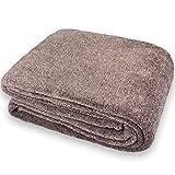 CelinaTex Calgary Kuscheldecke mit Ärmel und Fuß Tasche, Mikrofaser Decke Coral Fleece, Tagesdecke braun weiß, 150 x 180 cm 5000010