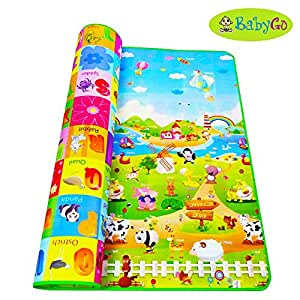 BabyGo Kids & Baby Waterproof Soft Double Side Baby Play Crawl Mat for Infant, Toddlers, Baby, Kids Safety Play - 180cm * 120cm* 0.3cm (Thin and Lightweight Portable Edition)